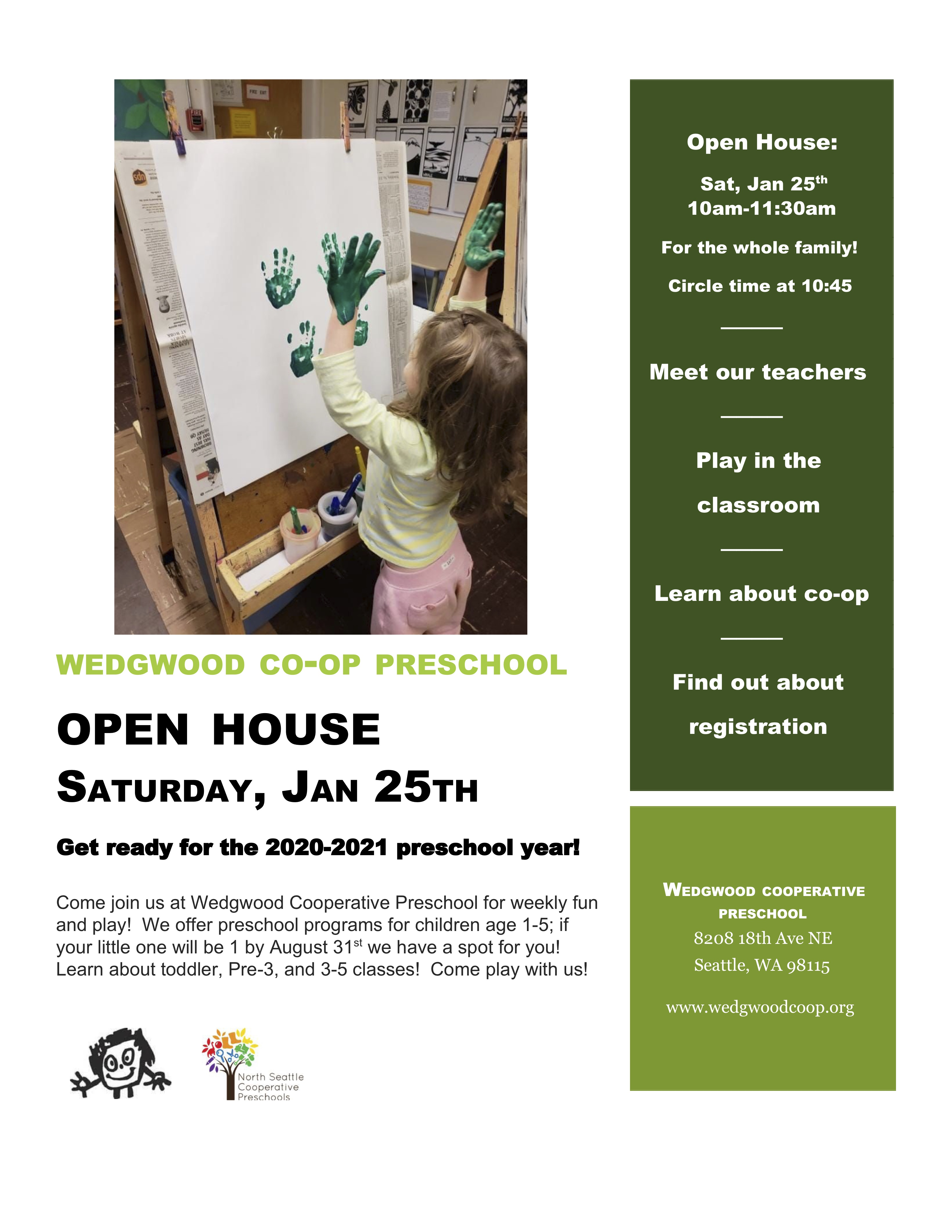 Wedgwood Cooperative Preschool Open House